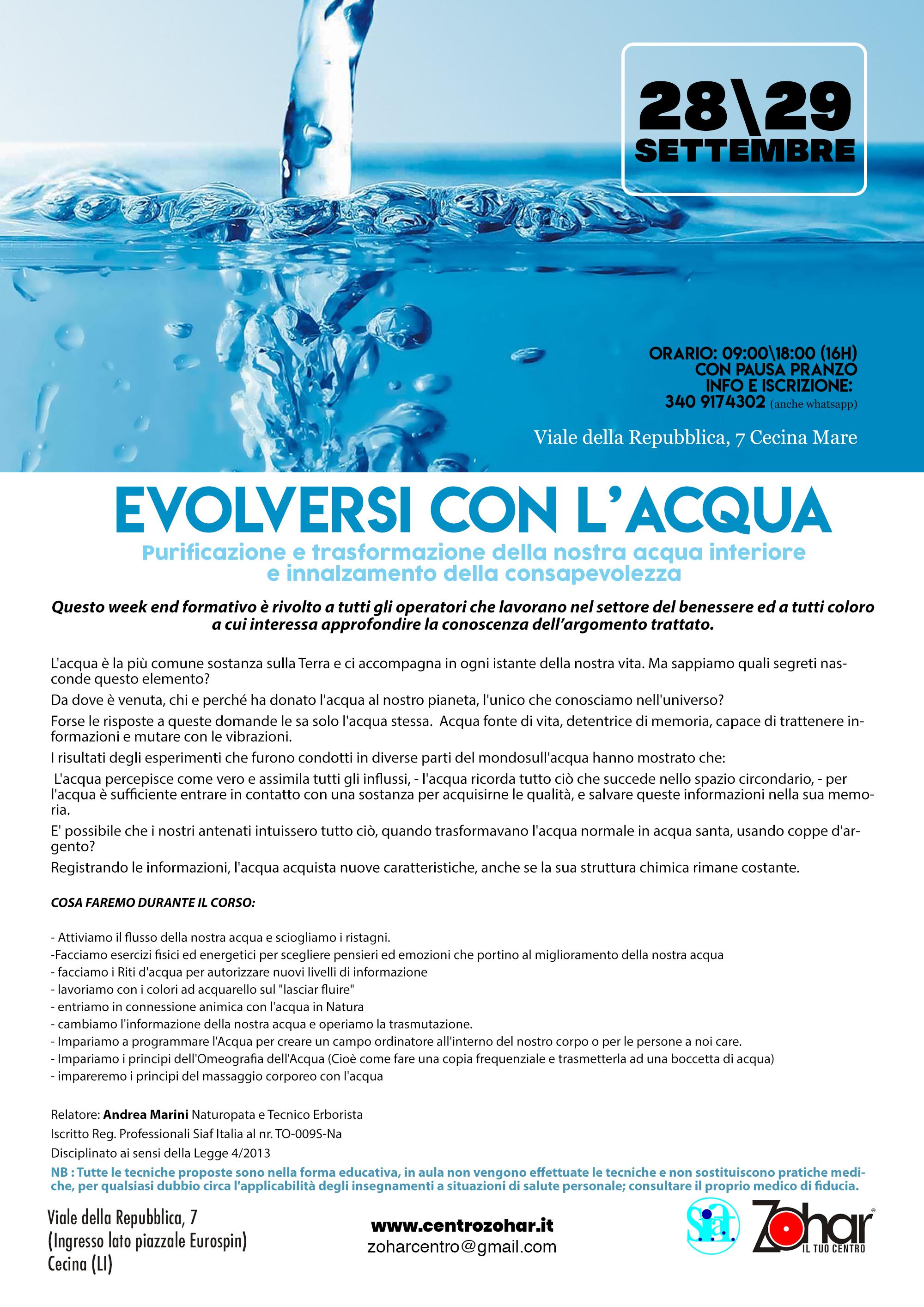 Centro Zohar - Corsi Monotematici - Evolversi con l acqua